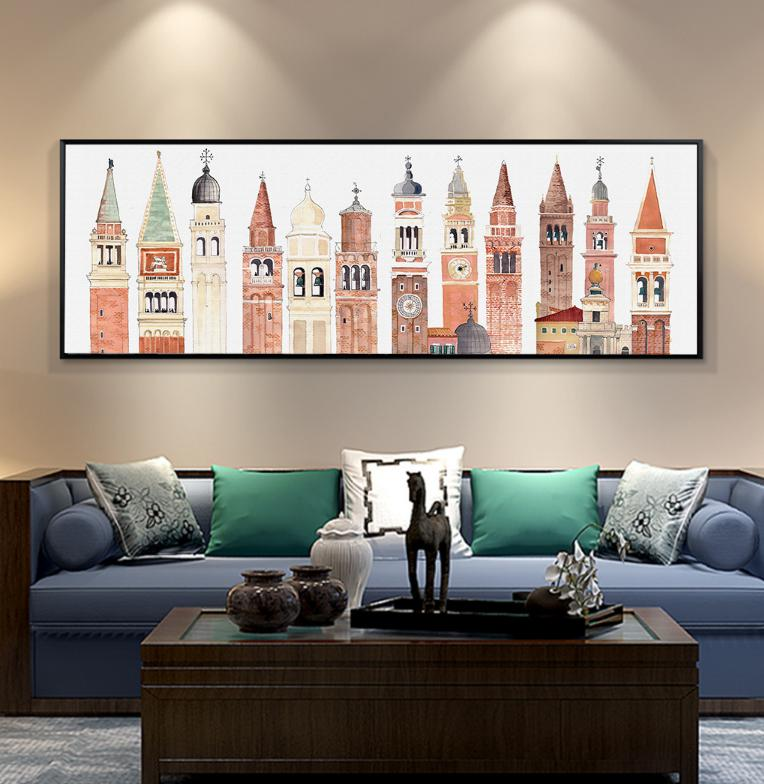 European Retro Famous Architecture Abstract American Nordic Bedside Decorative Painting Unframed Wall Art On Canvas in Painting Calligraphy from Home Garden