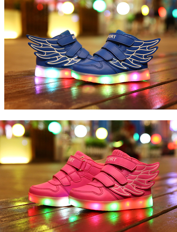 HTB1P9rUemBYBeNjy0Feq6znmFXaT - UncleJerry Kids Light up Shoes with wing Children Led Shoes Boys Girls Glowing Luminous Sneakers USB Charging Boy Fashion Shoes