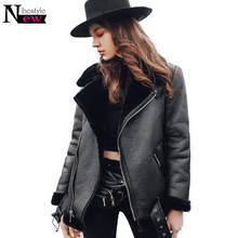 2018 Winter Thicken Faux Fur Coat Leather Fluffy Fur Jacket Women Motorcycle Faux Shearling Sheepskin Coat Women Leather Jacket