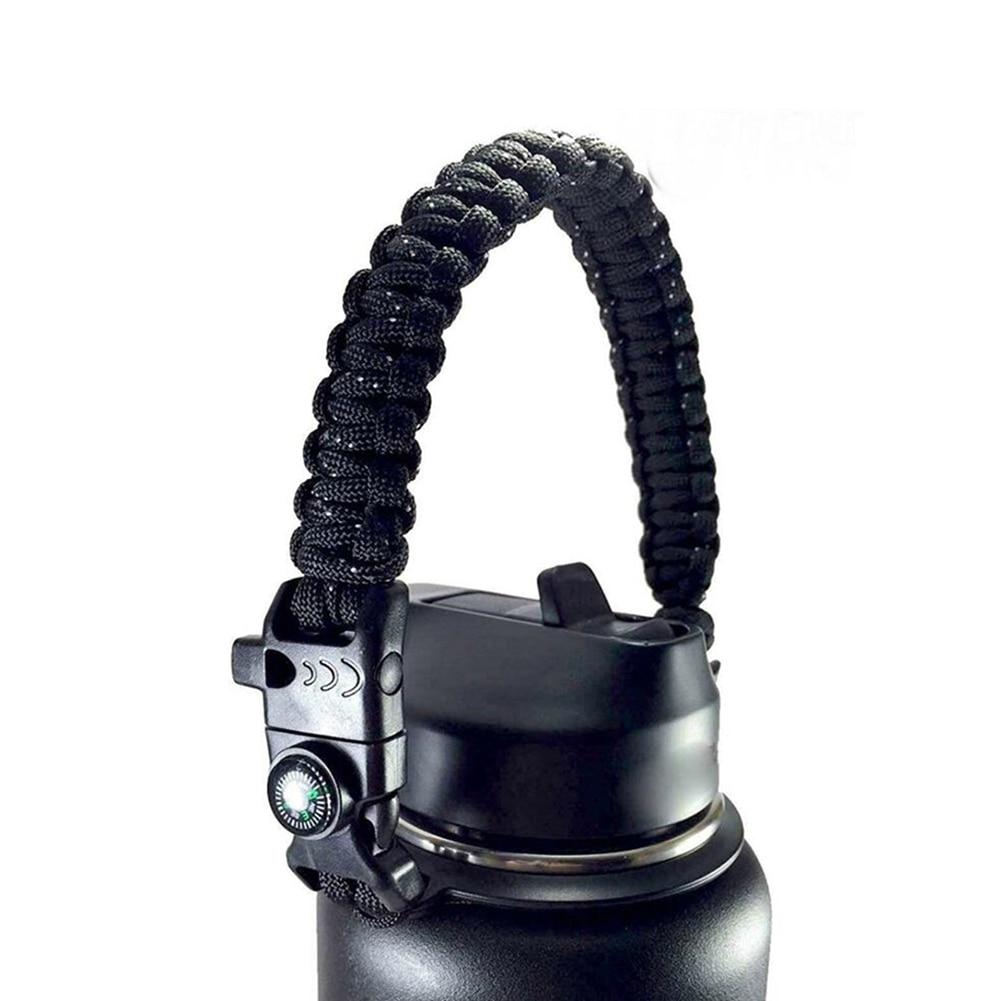 Держатель для чашки, переноска с кольцом, бутылка для воды, Паракорд, подходит для путешествий с широким ртом, простой походный ремешок с ручкой, Плетеный для гидроколбы - Цвет: Black