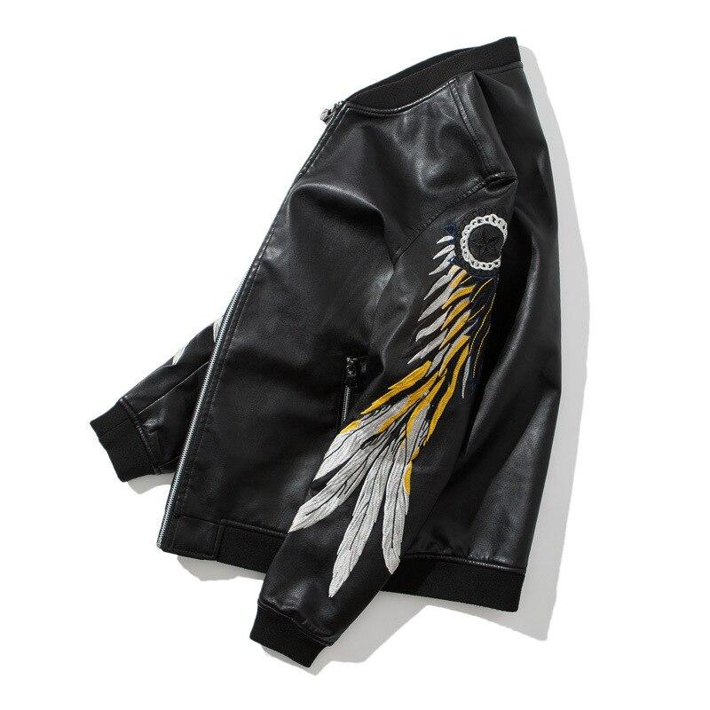 Pu Broderie Collier Stand Ailes Manteaux Homme Jaket Moto Tsingyi Hommes Noir En Veste De Cuir Plume 8Bdwqdz