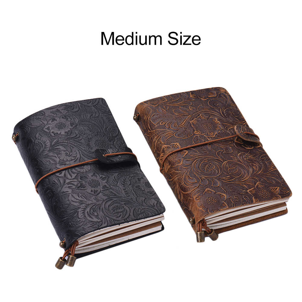 Full Grain Leather Refillable Travel Journal Notebook Diary Embossed Flower Pattern Daily Notepad Cover with Elastic Strap Gift