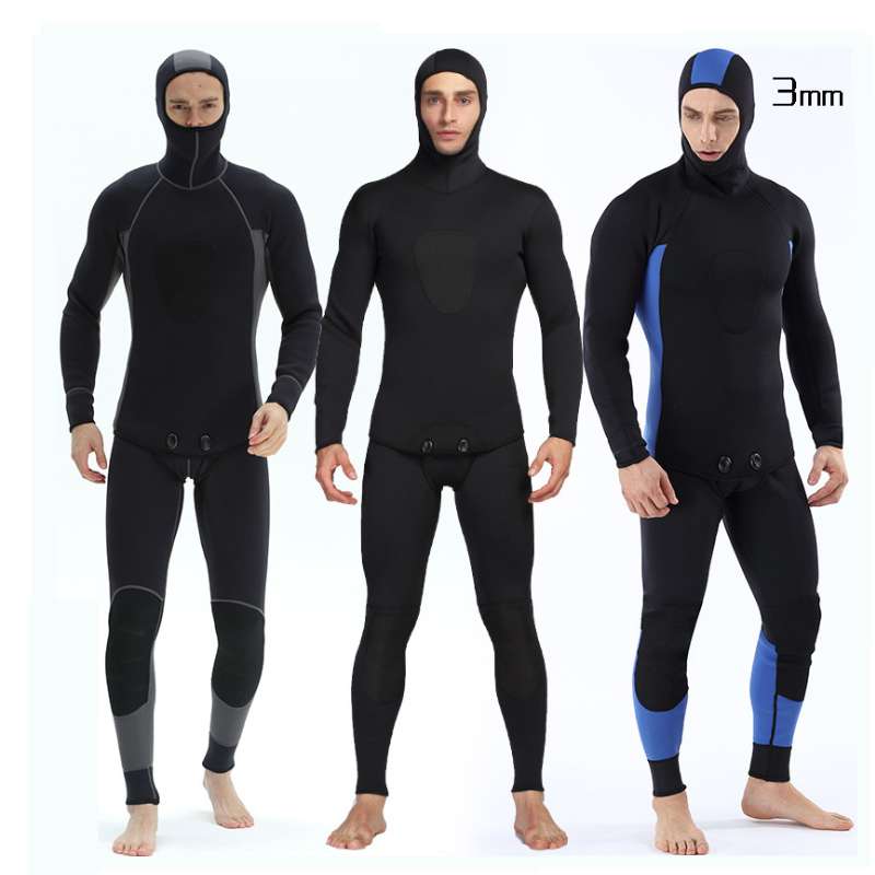 3MM Two pieces Wetsuit for Men Neoprene Nylon Diving Suit with Hood Vest Pants Cold-proof Wet suit Jumpsuit for Scuba Dive respirator two decompression dive diving second stage breathing regulator dive two parts supplies