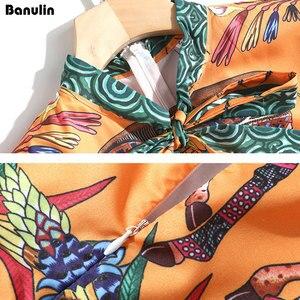 Image 5 - Vestido largo con estampado Animal para mujer, vestido largo elegante con cuello de lazo, longitud hasta el suelo, para playa y vacaciones
