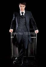 Custom Made Two Buttons Black Groom Tuxedos Notch Lapel Best Man Groomsmen Men Wedding Suits Bridegroom