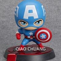 The Avengers Capitão América Thor Agitar sua cabeça PVC Boneca Figura Collectible Modelo Toy 13 CM Moda Decoração CAIXA de VAREJO G66