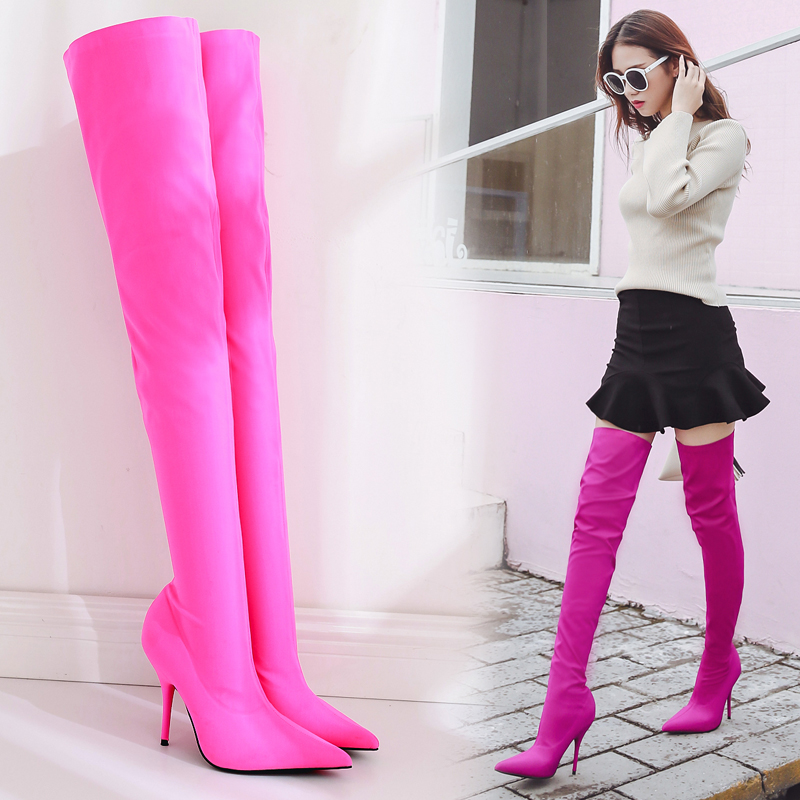 Women Sexy Over Knee Thigh High Stretch Riding Boots Pointed Toe Stilettos Stretch Slim Fit 4Colors