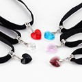 Luxury Heart Velvet Choker Necklaces For Women 6 Colors Shiny Crystal Pendants Collier&Black Cool Lace foulard Bijouterie GL405