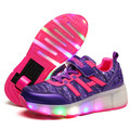 2017 Spring New Styles Child Girls Boys Roller Skate Shoes LED Light Black Purple Children Sneakers Shoes With Wheel For Kids