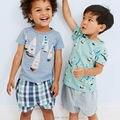 Nuevo 2017 de la Marca de Calidad 100% Del Algodón Del Bebé Muchachos Que Arropan el sistema Ropa de Los Cabritos Sets Niños Bebés de Manga corta de Los Niños Trajes de Verano Outwear