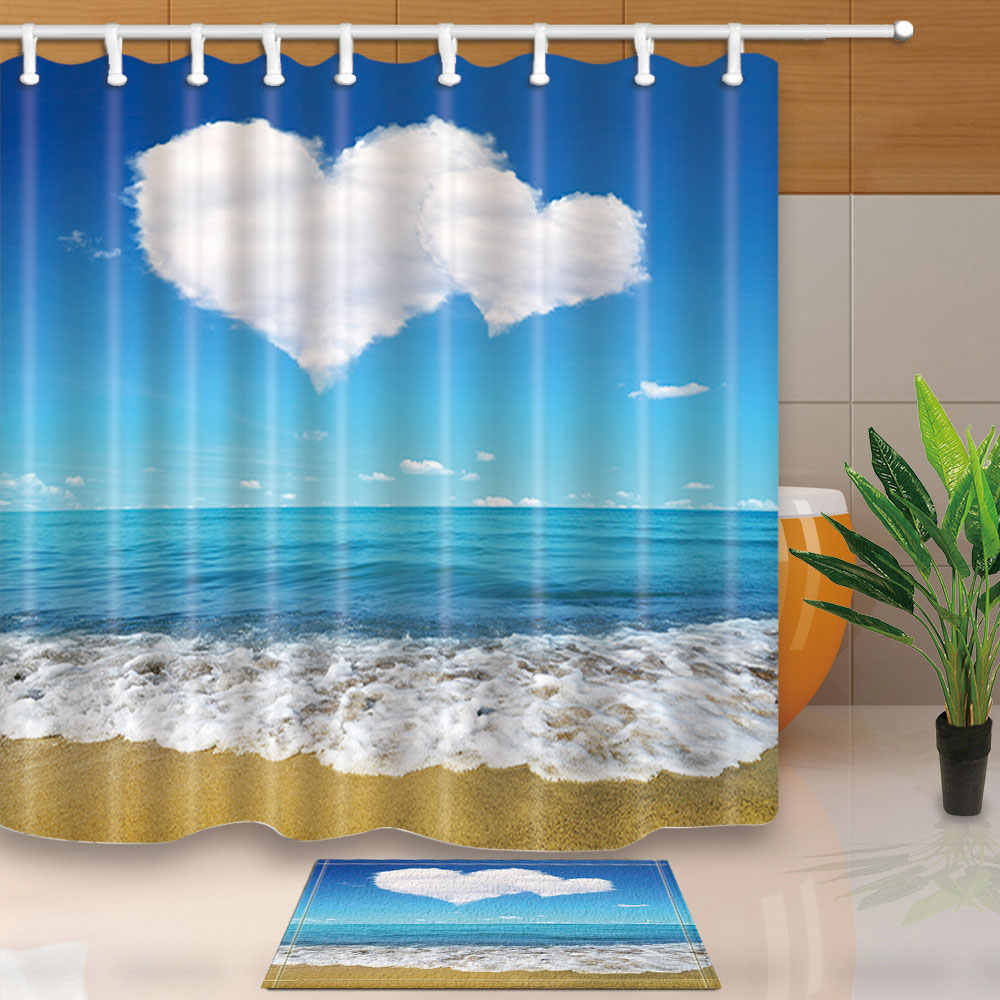 Summer Scenic Seascape Sea Beach Picture Print Ocean Decor Collection  Bathroom Set Fabric Waterproof Shower Curtain with Hooks