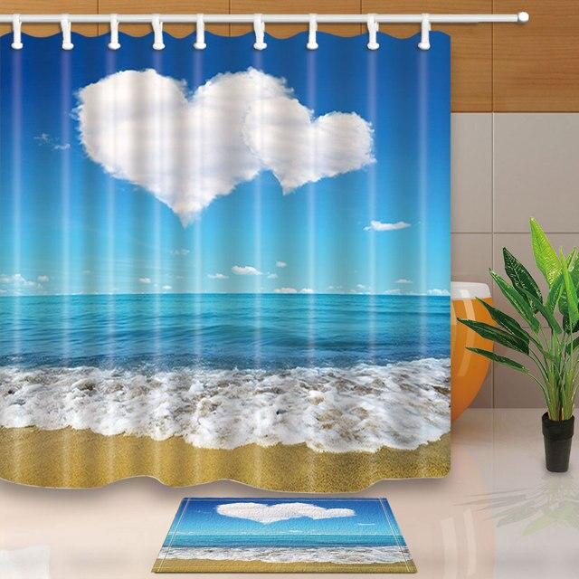 Summer Scenic Seascape Sea Beach Picture Print Ocean Decor Collection Bathroom Set Fabric Waterproof Shower Curtain