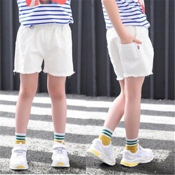 Baby Teenager Shorts Summer Denim Shorts For Girls White Pink Teens Girl Short Jeans 3 4 5 6 7 8 9 10 12 15 Years Old Kids 3