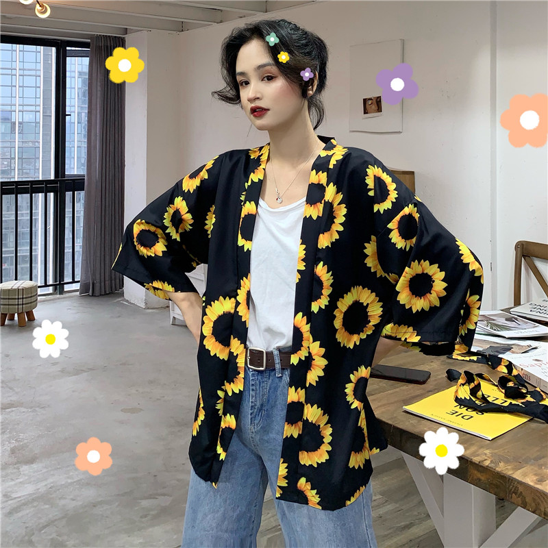 Sun Protection Clothing Women Harajuku Sunflower Printed Loose Kimono Blouse Cardigan New Summer Fashion Casual Outwear Unisex