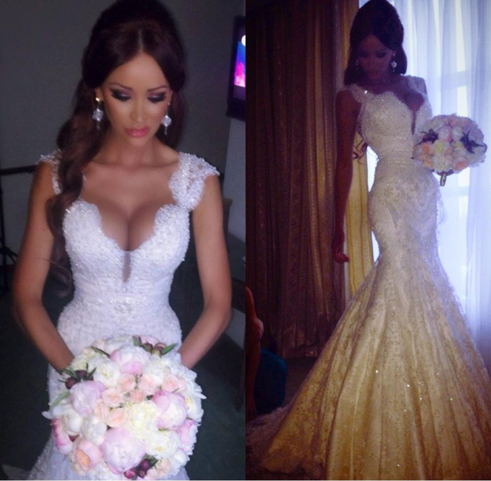 Real brides in lace dresses