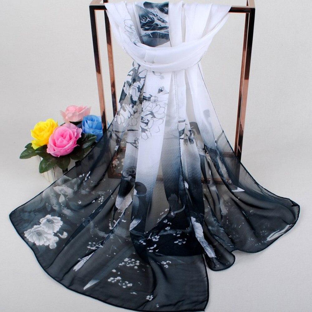 Fashion Women   Scarves   Soft   Wraps   Printed Soft Chiffon Shawl   Wrap     Scarf   Breathable Chiffon   Scarves   Exquisite Shawls Elastic   Wrap