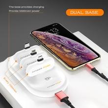 Cargador portátil Fingerpow 18650 batería para android tipo c iphone poder magnético batería externa paquete USB Cable powerbank