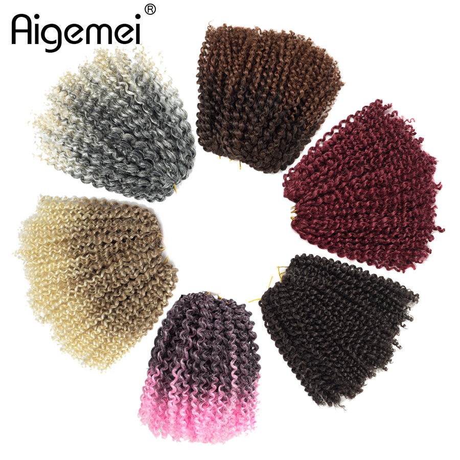Aigemei Ombre Marlybob Crochet Braids  Kinky Curly Twist synthetic Afro Hair