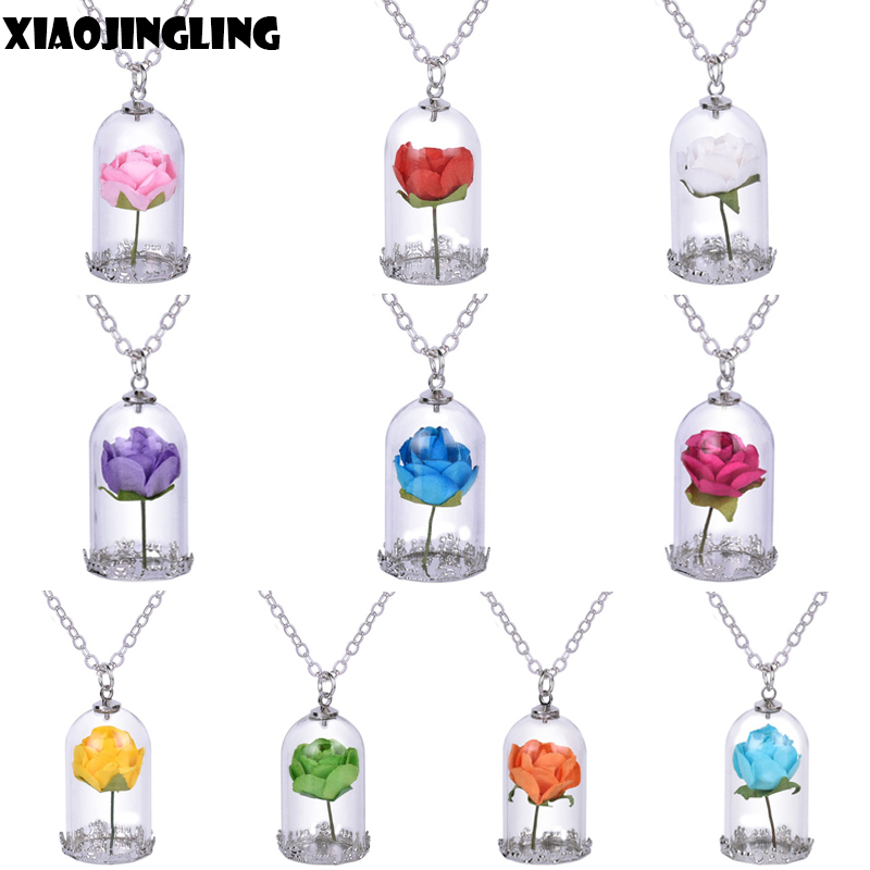 Lady Retro Glass Vial Necklace Pendant Natural Rose Red ...