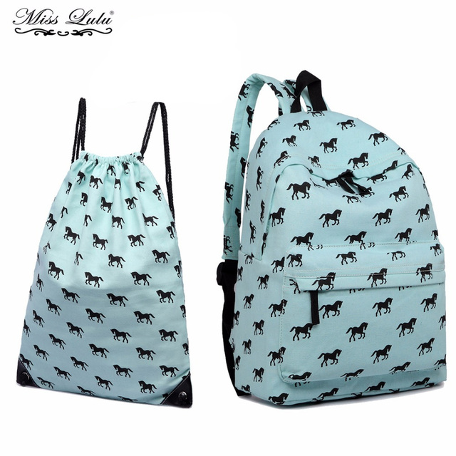 a25cacef0e Miss Lulu 2pcs ( 1 Canvas Backpack + 1 Drawstring Bag ) School Bags for  Teenage