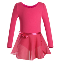 Toddler Ballet Dress Long Sleeves Athletic Dance Leotards Girls Gymnastics Kids Dance Wear Biketard With Tutu