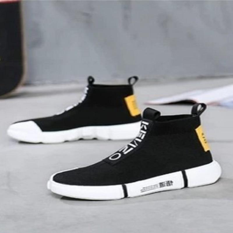 Ronde Chaussures Coréen Aider Jeunes Noir Pour De Décontractées Sauvage Tête Chaussettes Haute Mode Hommes 76Yyvfbg
