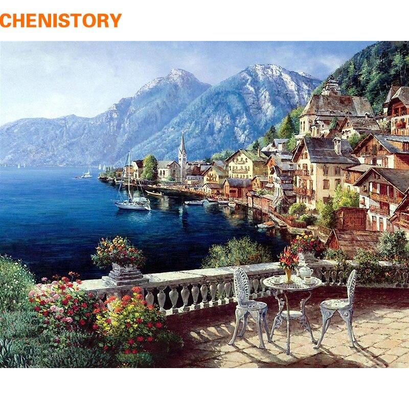 CHENISTORY Paesaggio Marino Pittura A Olio By Numbers DIY Digital Immagini Da Colorare Con i Numeri Su Tela Regali Unici Decorazione Domestica 40x50