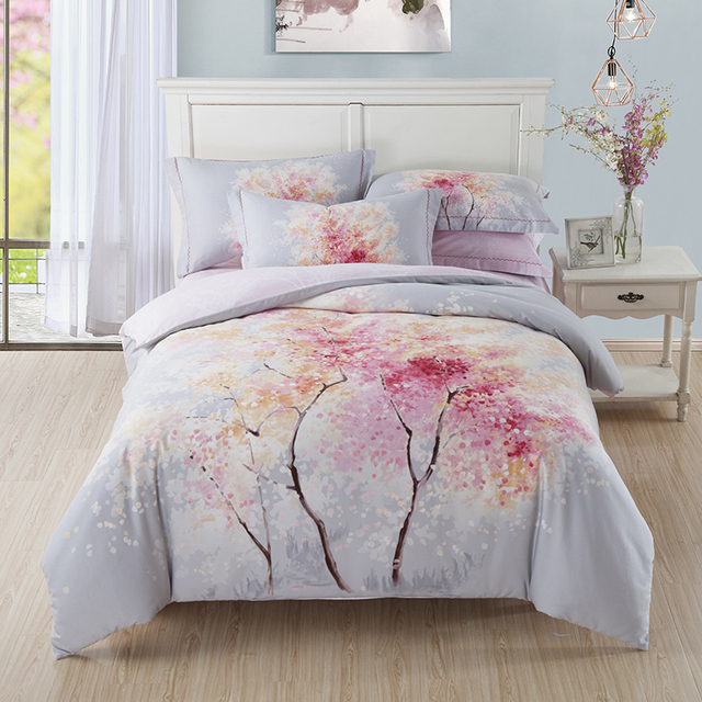 Ideal Cherry Blossom Tree Bedding Set Queen King Size Bed Sheets Duvet  HE33