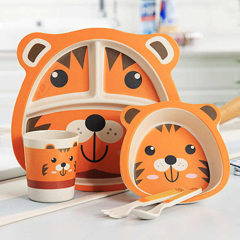 5 ชิ้น/เซ็ตเด็กจานการฝึกอบรมบนโต๊ะอาหารเด็กน่ารักการ์ตูนอาหารจานเด็กอาหารเย็นชามถ้วยช้อนส้อมแผ่น
