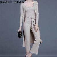 2016 Women Suits Set Solid Temperament Loose Cardigan Sweater Knit Camisole Suit Trousers Three Piece Female
