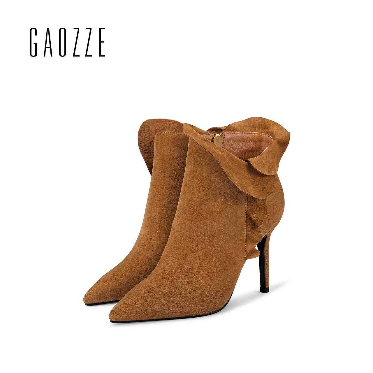 GAOZZE sexy pointed side zipper boots women fashion female sheep suede leather high heel ankle boots 2017 autumn new gaozze suede leather women ankle boots female pointed black side zipper ankle boots heels shoes women 2017 autumn new