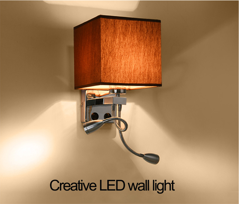 Modern LED Fabric + Iron Wall Lamp decoration double tube E27 switch lighting Bedroom reading Bedside black/white/brown/linen|Wall Lamps| |  - title=