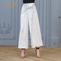 VOA белый Высокая талия широкие штаны Для женщин шелк женские офисные костюм брюки женские Бизнес Broeken свободные Повседневное плавки K819