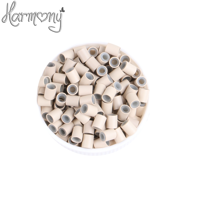 (1000pcs/lot) 3.4*3.0*4mm 7# Light blonde silicone copper tube micro silicone lined copper rings tube beads rings