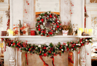 horizontal christmas decorations for home photography backdrops fireplace background photo background XT 6265