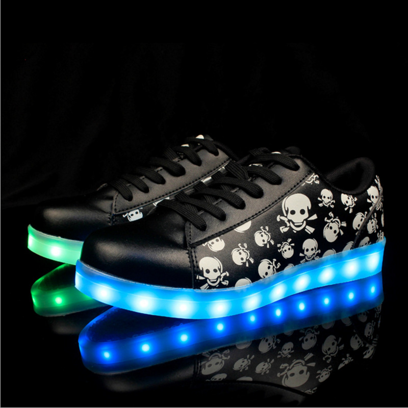Size 35-46 USB Recharge Led Shoes Girl Boy Luminous Sneakers Women Glowing Light Up Footwear Led Slippers Skull Head plus size 35 40 led shoes women glowing 7 colors led shoes for adults fashion luminous led light shoes woman sapato feminino