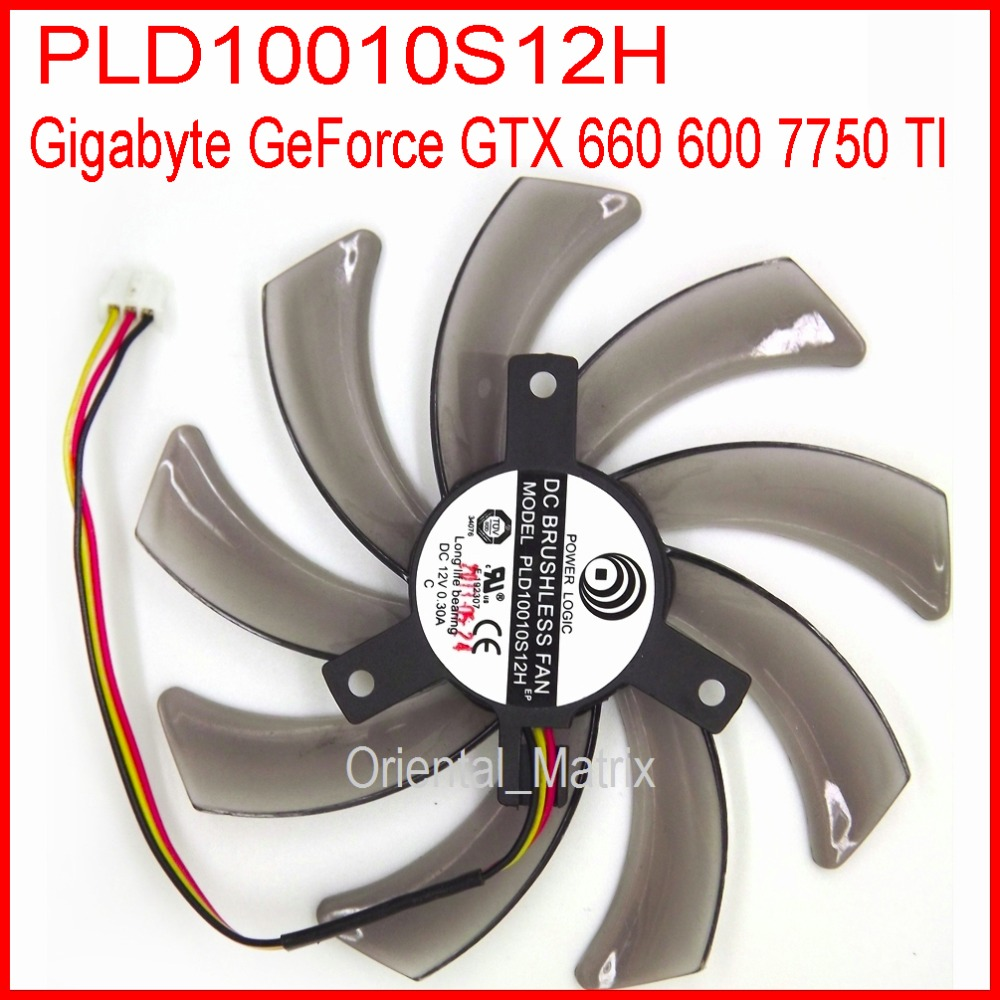 Free Shipping POWER LOGIC PLD10010S12H 12V 0.20A 95mm For Gigabyte GeForce GTX 660 600 7750 TI Graphics Card Cooling Fan 3Pin