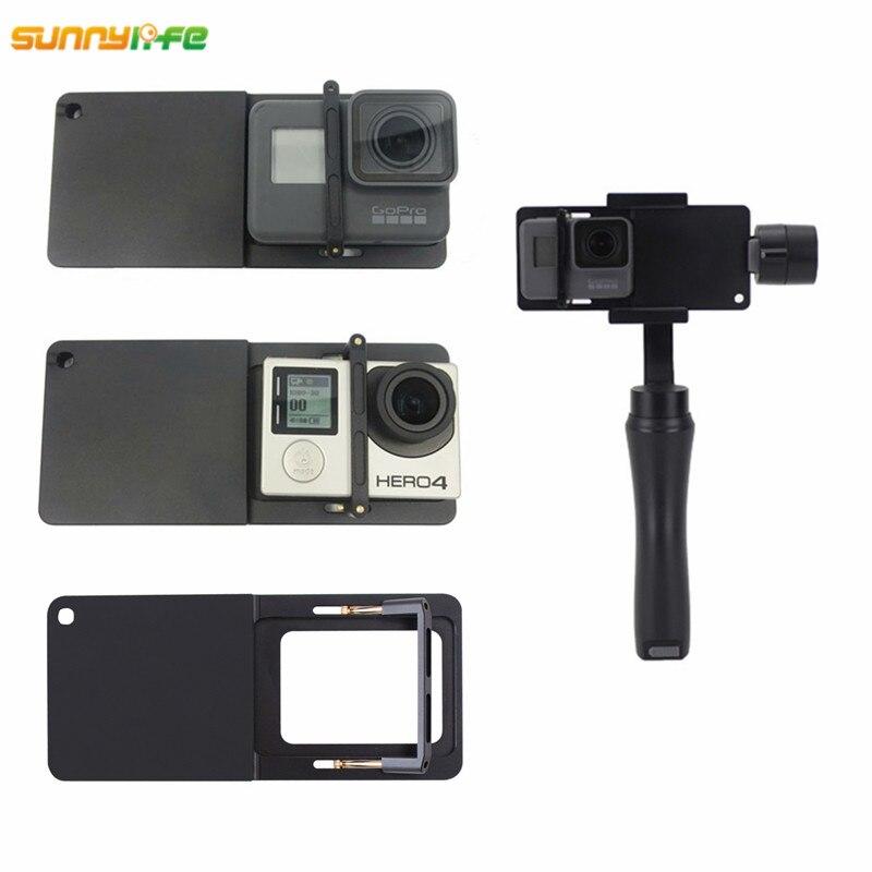 Sunnylife Handheld Gimbal Adaptador para GoPro Herói 4 3 + Yi 4 k Interruptor Da Câmera Placa de Montagem para DJI Osmo zhiyun Lisa Q Móvel