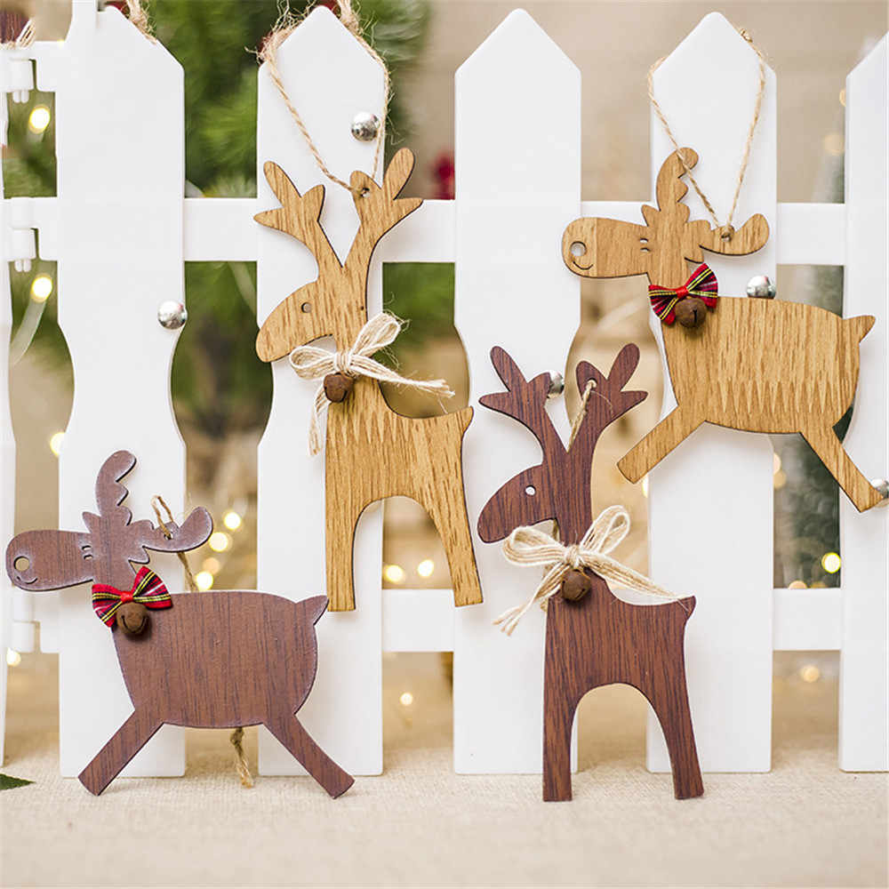 1PCS Christmas Deer Wooden Xmas Tree Pendants DIY Ornaments For Christmas Party Perfect for outdoo indoor decoration 11.8