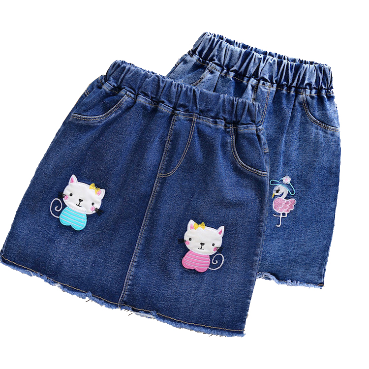 3--12 Years Kids Girl Children A-Line Embroider Cat Package Hip Skirt Skirts Clothes