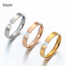 Eleple Square Zircon Stainless Steel Rings for Women Simple Exquisite Engagement Anniversary Ring Gifts Jewelry Wholesale S-R84