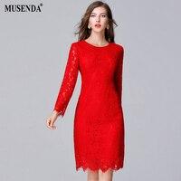 MUSENDA Cộng Với Kích Thước 5XL Phụ Nữ Thanh Lịch Vintage Red Hollow Out ren Dọc Slim Áo Dài Váy 2017 Mùa Thu Lady Casual Lễ Hội Dresses