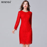 MUSENDA Plus Size 5XL Women Elegant Vintage Red Hollow Out Lace Lining Slim Tunic Dress 2017