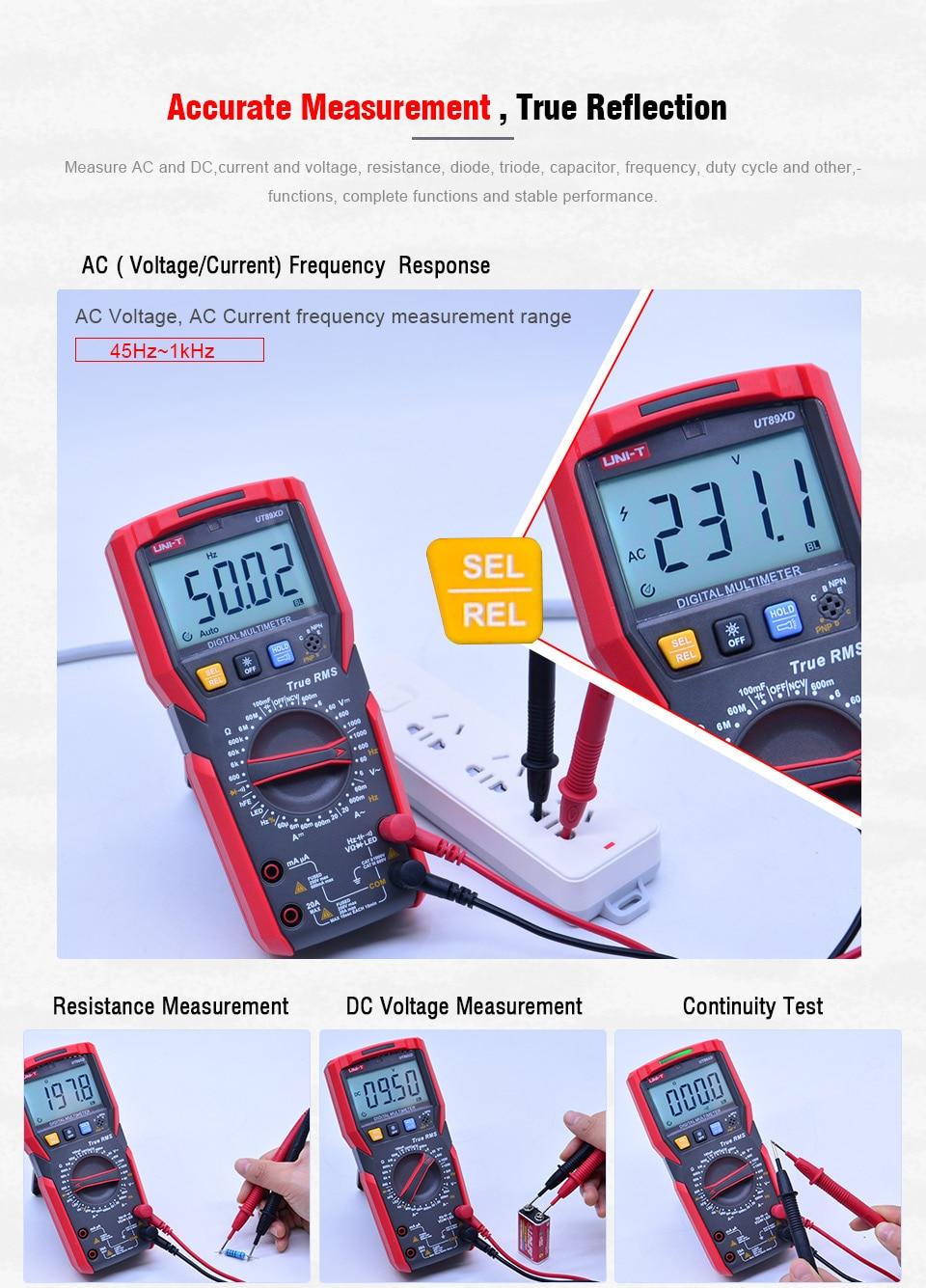 UNI-T ut89xd trms multímetro digital tester ac