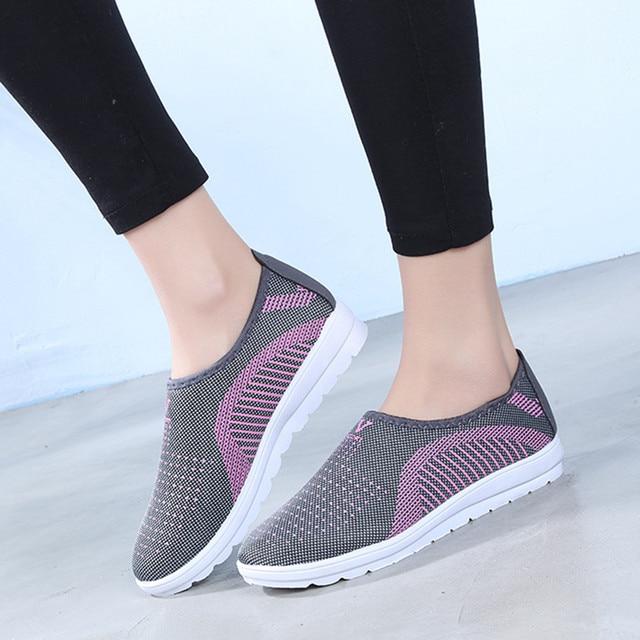 Respirant chaussures pour femmes Maille Plat Avec Coton Cheville Chaussures décontracté Marche Rayure Baskets Mocassins Doux Chaussures chaussures femme