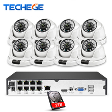 Techege Full HD 1080P 8CH POE NVR Kit H.265 Camera System 8pcs IP Cameras Video Security Surveillance Kit Onvif Motion Detection