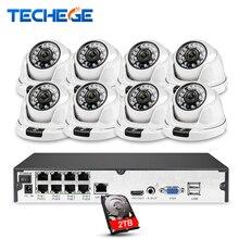 Techege completa hd 1080 p 8ch poe nvr kit h.265 sistema de câmera 8pcs câmeras ip kit vigilância segurança vídeo onvif detecção movimento