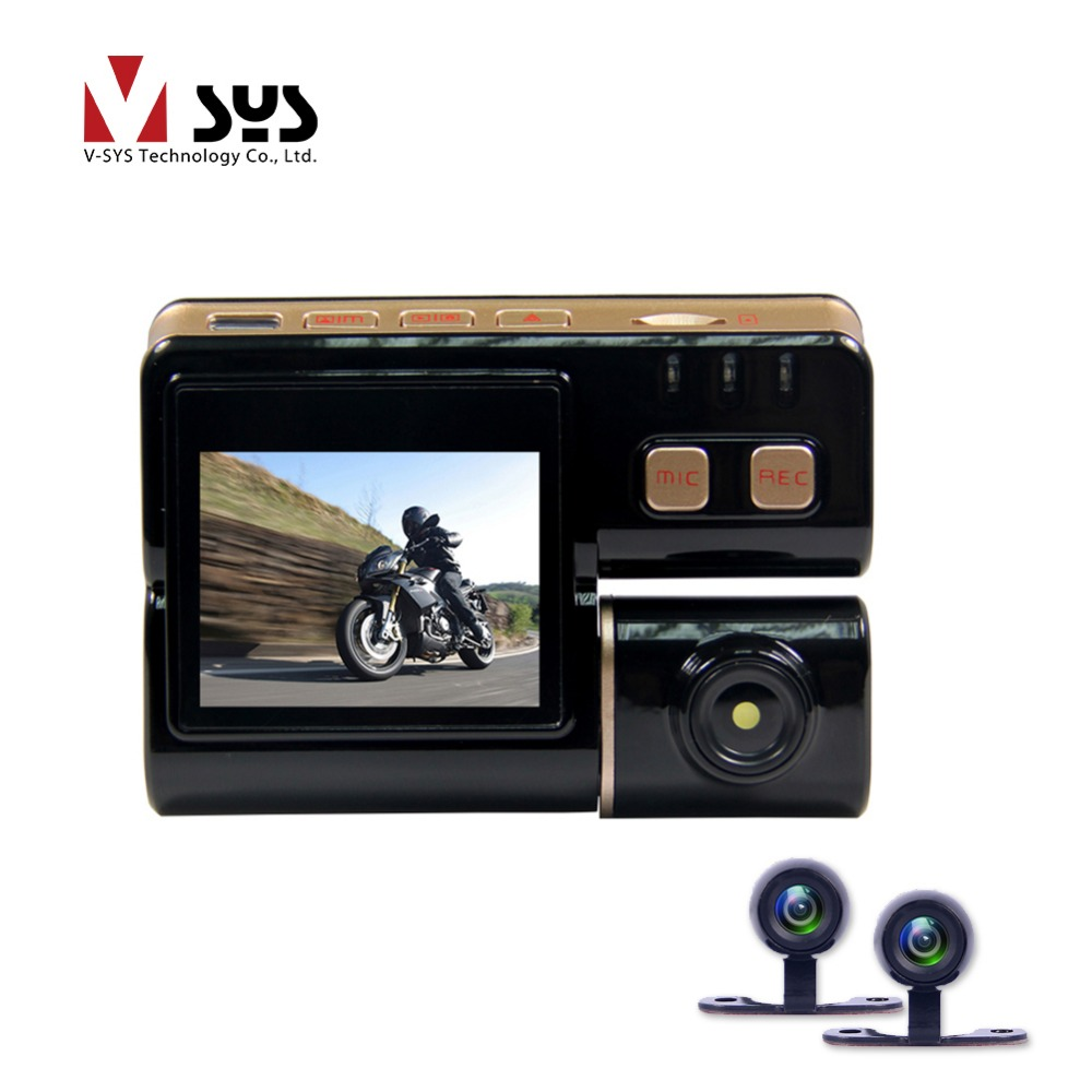Vsys C3 Motorcycle Camera Video Recorder Waterproof Dual Lens Camcorder 2 Front and Rear View Cameras for Motorcycle DVR