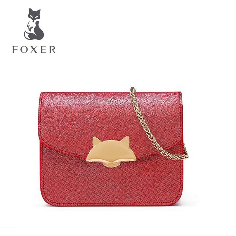 FOXER New women leather bag designer famous brand handbags small shoulder bag fashion Chains women leather shoulder bag цена
