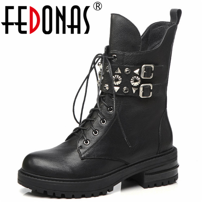 Negro Remaches Moto Boot Fedonas Corto Martin Botas Mujeres Mujer Cuero Zapatos Genuino Invierno Otoño De Para Punk Tacones Grueso qwwUC4